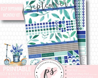 Bloom Again September 2017 Monthly View Kit Printable Planner Stickers (for use with Erin Condren ECLP) | JPG/PDF/Silhouette Cut File