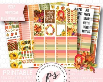 Thankful Thanksgiving Full Weekly Kit Printable Planner Stickers | JPG/PDF/Silhouette Compatible Cut Files | For Use with Erin Condren ECLP