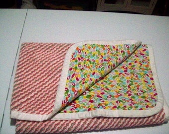 Handmade Chenille Blanket bright small oval abstract design
