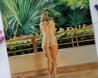 Erotic Art, Nude Portrait, Nude Wall Art, Sensitive Nude, Original Painting, Nude Girl, Pin Up Art, Sexy Female Woman Drawing, Nude Girl,