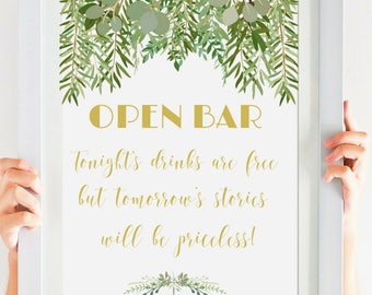 Open Bar Sign, Instant Download, Greenery Wedding Printable, Rustic Wedding Sign, Garden Wedding, Wedding Sign, Gold Wedding,# IDWS604_32S