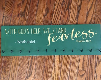 Personalized Medal Hanger - With God's Help, We Stand Fearlees - Custom Medal Holder - Key Rack - Headband Organizer