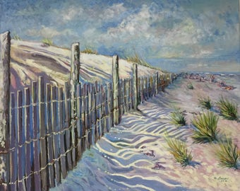 "Beach Art Canvas, Original Painting, Acrylic on Canvas, Sand Dunes,   24"" x 26"""
