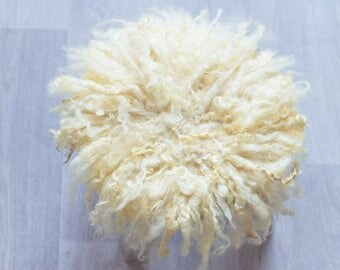 Wool yellow curly, matted, photo props, rug wool blanket, laying blanket
