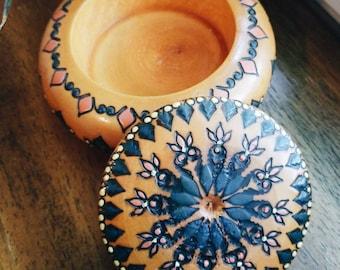 Wooden bowl, decorative bowl, painted bowl, ring dish, boho decor