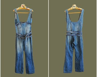 Wide leg overalls size M womens flared denim jeans overalls indigo blue bib overalls denim jumpsuit dangaree vintage 90s size 10