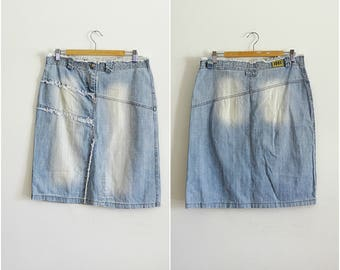 Grunge denim skirt with fringe A-line skirt midi light blue stonewashed jeans skirt midi size 12 EU 42 vintage 1990s