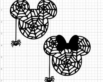 Halloween Mickey Minnie Spider SVG PDF EPS Dxf & Studio 3 Cut Files