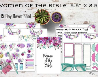 """Printable Praise & Pray """"Women of the Bible"""" Journal Kit. """"5.5x8.5"""". 15 Days of Scripture, Colorable Elements, Words and Colored Stickers."""