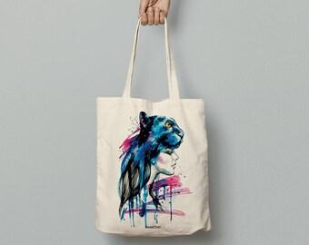 Panther girl tote bag