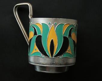 Russian tea glass holder podstakannik Vintage glass holder Kitchen decoration Serving gift Russian Traditional metal glass holder