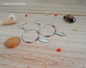 Hoop earrings, beads and feather, gift idea mother grandmother, Easter