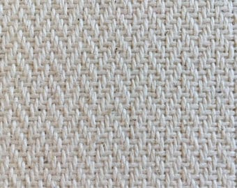 Handwoven Tweed Cloth Twill Fabric natural cream beige unbleached Cotton 69 x 25cm