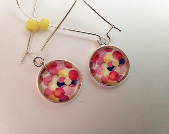 Earrings cabochon silver glass multicolor dots