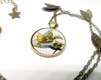steampunk necklace, dragon and his clock