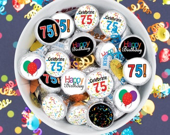 Multicolored 75th Milestone Birthday Candy Sticker Labels, 75 Happy Birthday Party Favor Stickers, 75th Birthday Party Supplies - Set of 324