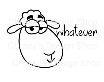 Silly sheep line art svg file / line art sheep cartoon / sheep svg / dxf / eps / png / silly quotes / line art printable / sheep printable