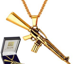 M4A1 Shooter Necklace 18K Gold Plated Machine Gun Pendant - Elegant Gift Box