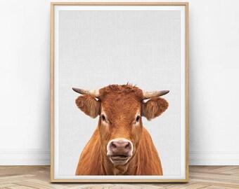 Cow Print, Cow Art, Cow Printable, Animal Photography, Nursery Farm Animal, Farm Animal Print, Farm Decor, Minimal Print, Printable Photo