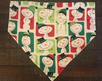 Holiday Snowman and Snowflake Dog Bandana