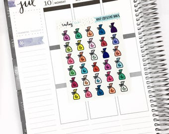 Crescent Bag Icons- Scrapbook/Planner Stickers for Erin Condren/ ECLP, Happy Planner, Personal (I017)