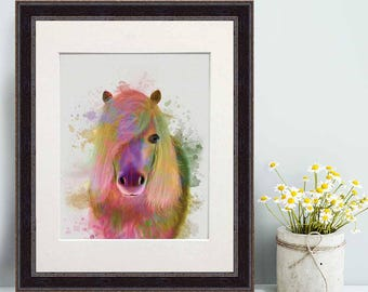 Nursery wall - Pony 1 portrait print  - Gift for bride Dorm room decor Office wall art Boho nursery Art for living room Wall art for bedroom