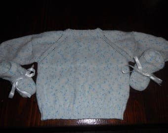 vest or jacket and slippers in wool acrylic 0/3 months (book)