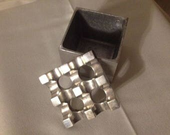 Ultima Silver Cube Ashtray ~ 70's Vintage ~ Malmo Sweden