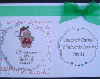 Gingerbread Girl Glittered & Personalised Daughter Christmas Card