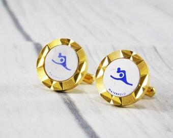 Gift\for\brother vintage Jewelry gold cufflinks Mens Jewelry cute water polo sports cufflinks wedding favours retro jewelry groom cufflinks