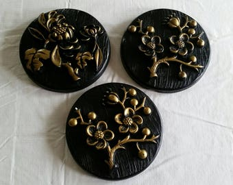 3 piece vintage round chalkware wall hanging floral plaques by miller studio 1973 - black & gold plaster art work antiques home decor