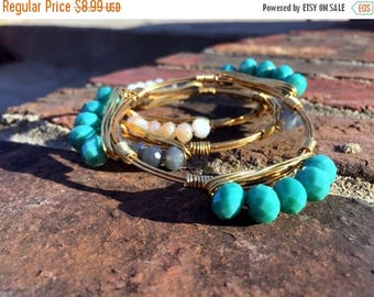 SALE NEW Spring Bangle Set - 3 Beautiful Gold Wire Wrapped Bangles!