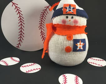 Houston Astros, Astros,Snowman,Houston Astros clothing,Astros fan gift,Gift for Astros fan,Astros decor,Astros collectible,MLB,Handmade