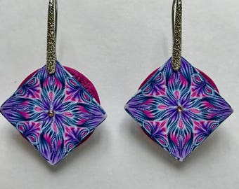 Blue square earrings, Polymer clay jewelry, handmade earrings, Statement earrings, Boho jewelry, Art jewelry, Anniversary gifts for women
