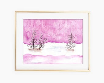 Winter Landscape Art, Winter Landscape Watercolor, Winter Landscape Painting, Winter Watercolor, Landscape Watercolor, Winter Painting
