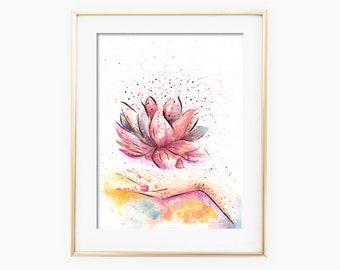 Lotus Flower Wall Art, Lotus Flower Art, Lotus Flower Painting, Lotus Flower Watercolor, Lotus Flower Wall Decor, Home Decor, Gift for Her