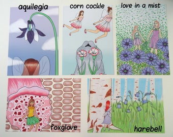 4 x 6 British Flower Fairy Prints (Individual Prints or Discounted Bundle)