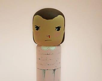Kokeshi Peg doll handpaining wooden doll Eleven Stranger Things