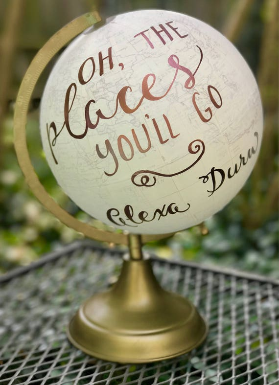 Baby's Nursery Globe/WHITE WASHED w/Gold, Rose Gold or other color ink / custom calligraphy - Great for a special touch in baby's nursery