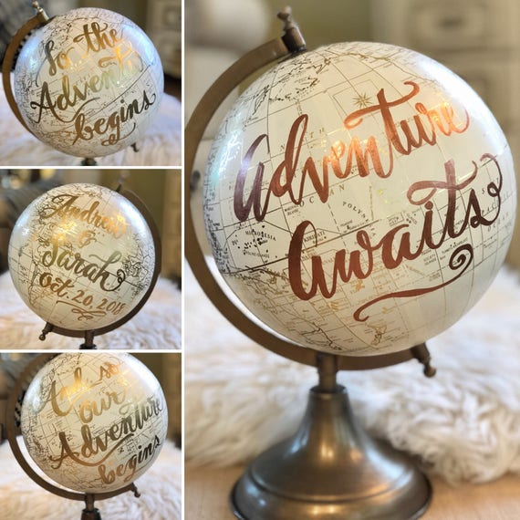 Custom Calligraphy Globe / White and Gold Calligraphy Globe / Rose Gold or other ink color / You Choose Custom Wording