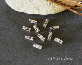 Set of 6 beads - silver - patterned Metal Tube 11 x 4 mm - ref:t13 - V022