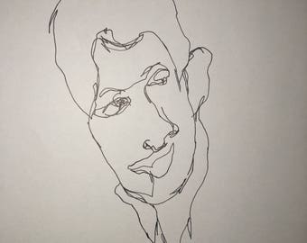 Pen and Ink Drawing of my student quick sketch blind contour