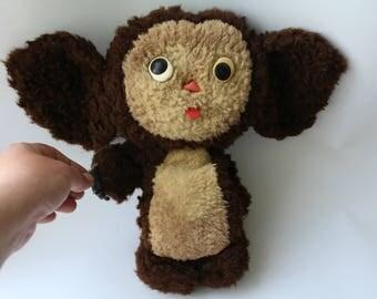 Soviet Cheburashka. Plush vintage Cheburashka. Retro Toy Cheburashka. Soviet Toy. Чебурашка
