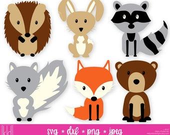 Woodland Animals svg - Woodland svg - Forest Animals svg - Fox svg -  Bear svg - Raccoon svg - Rabbit svg - Hedgehog svg - Squirrel svg