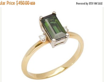 ON SALE Chrome Tourmaline Sapphire Ring 18kt Yellow Gold Ring Vintage Inspired || 17115