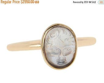 ON SALE Carved Moonstone Baby Face Ring | Antique Child Face Ring Gold | Edwardian Blue Moonstone Ring || 17708