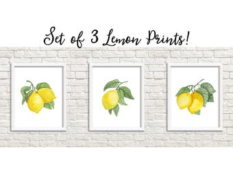 Set of 3 Watercolor Lemons Kitchen Printable Art Watercolor Lemon Prints Kitchen Print Home Decor Kitchen Lemon Printable Lemon Print Set