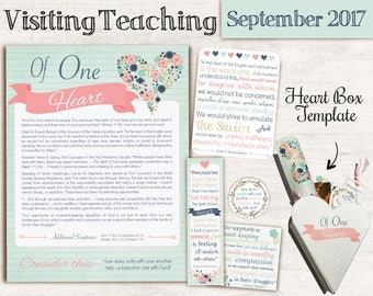 September 2017 Visiting Teaching Message, Relief Society Printable, Instant Download, Message VT LDS handouts, tags, heart box template
