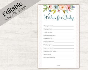 Wishes for baby flowers Pink, Editable PDF, floral, Editable Baby Shower Game, Editable game, Baby Shower Games Girl, Floral Game Set,