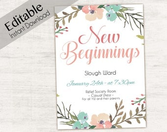 Editable New Beginnings Invitation, Young Women LDS Invitation, Instant Download, Young Women Invitation, New Beginnings printable
